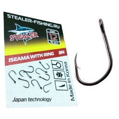 Крючки STEALER ISEAMA №12 с кольцом (black nickel) (10 шт.)